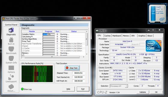 ASUS UL30Jt, Hot CPU Tester, egy aktív processzormaggal