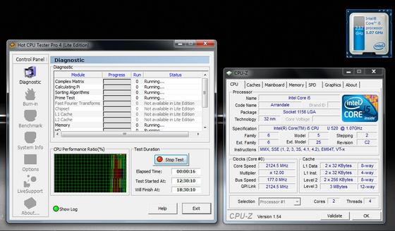 ASUS UL30Jt, Hot CPU Tester, két aktív processzormaggal