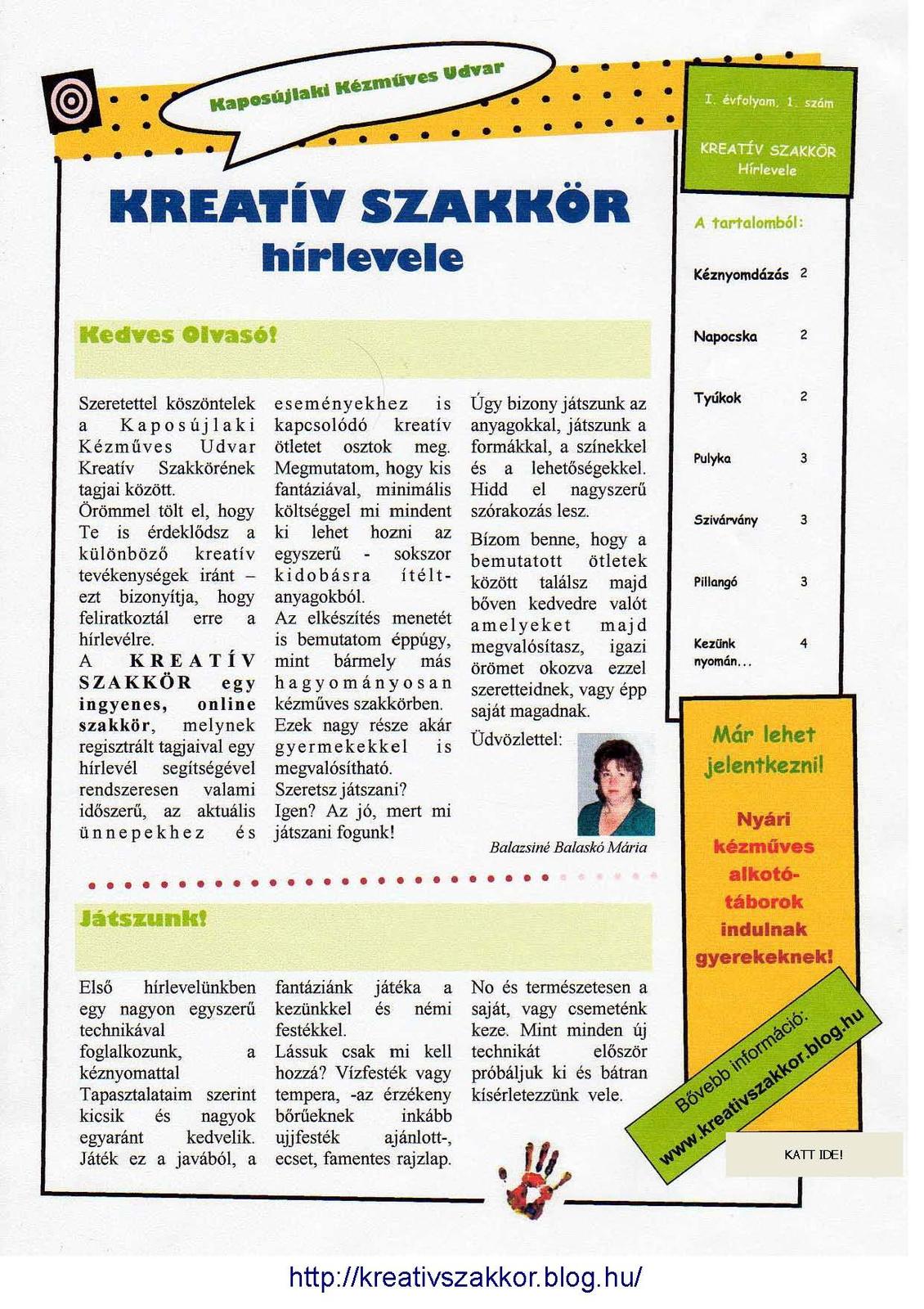 B.B.M: KREATÍV SZAKKÖR Hírlevele 1-1 Page 1